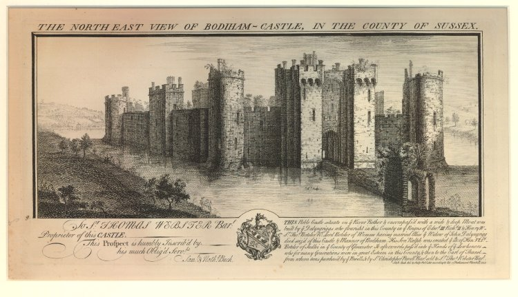 engraving dated 1737 of north east view of Bodiam Castle in Sussex